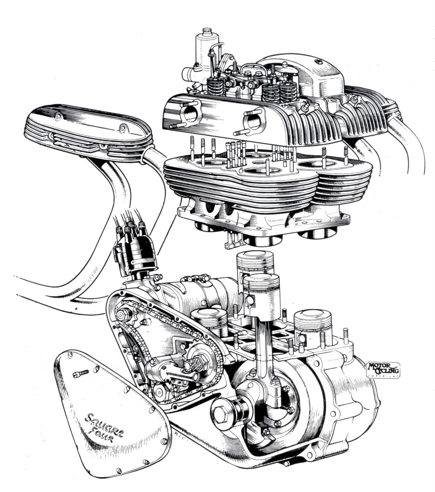 Ariel Square Four Cool Engine Cutaway Drawing on Motorcycle Fuel Tanks