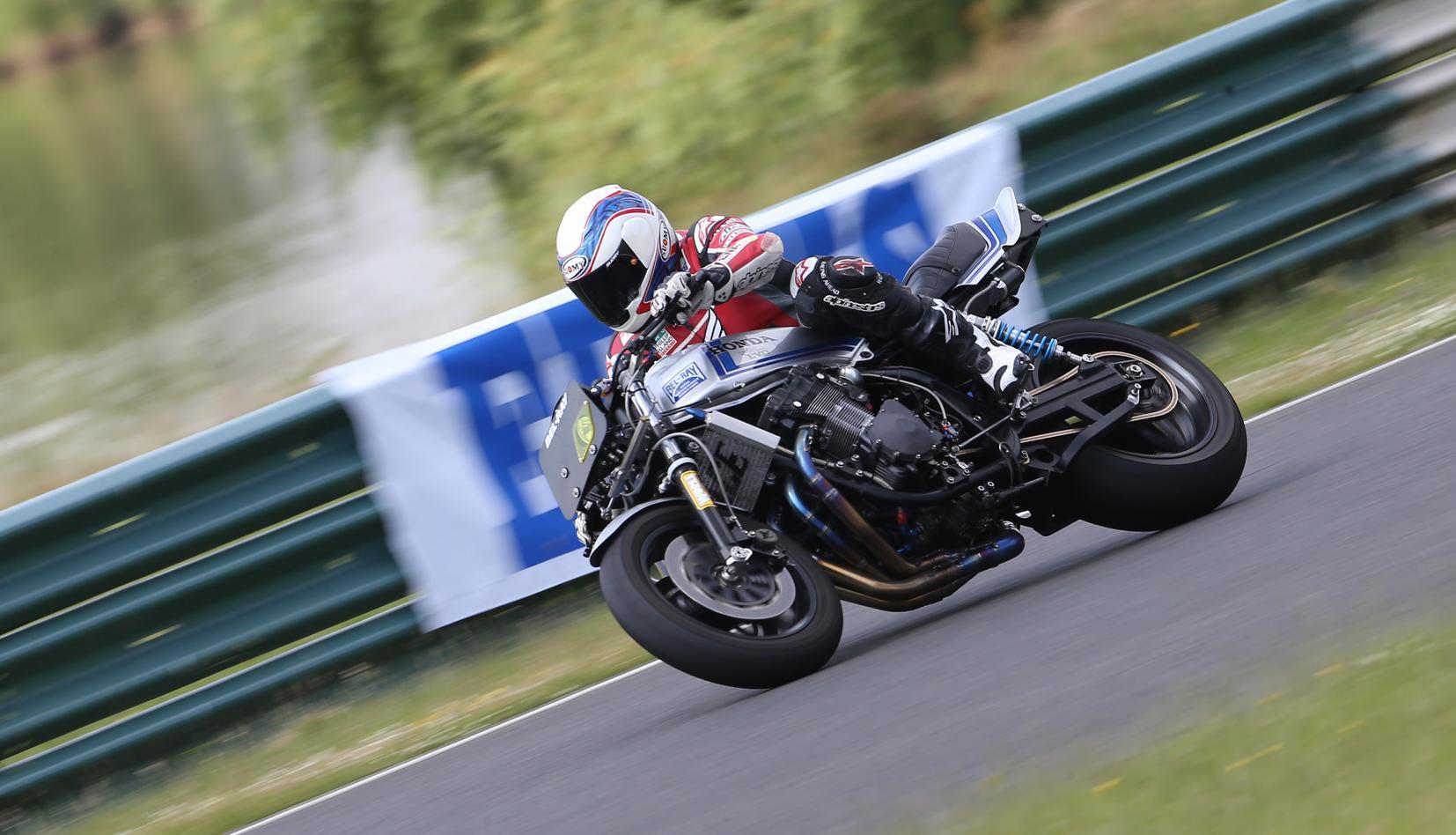 Wayne Gardner Riding Steve Elliotts Race Replica And